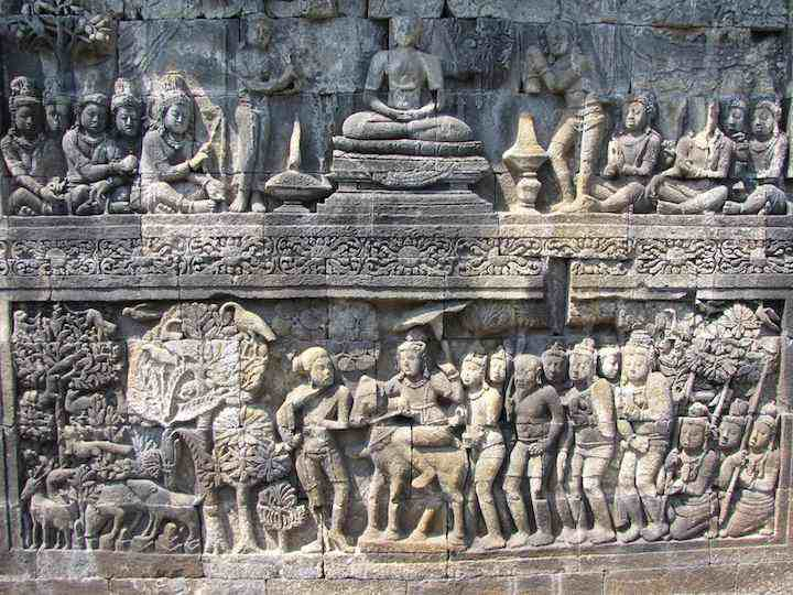 photo of carving at Borobudur Buddist temple, Indonesia