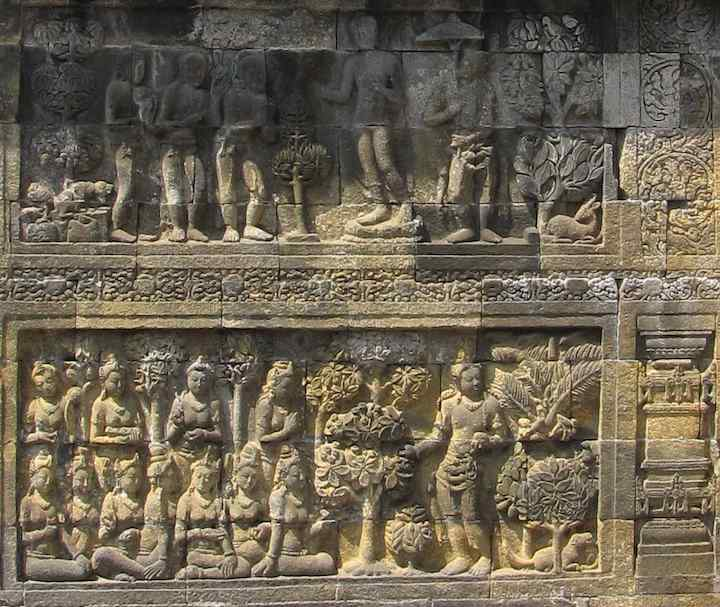 photo of carvings at Borobudur Buddist temple, Indonesia