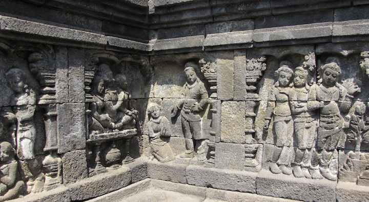 photo of carvings at Borobudur temple, Java, Indonesia