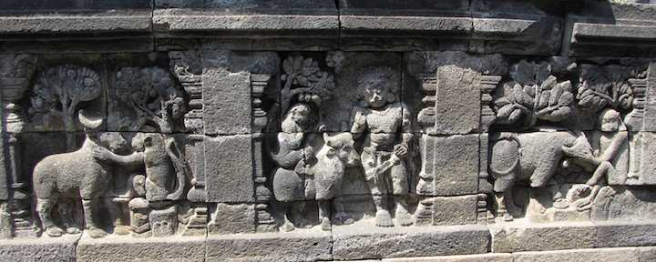 carvings of animals at Borobudur temple in Yogyakarta, Indonesia