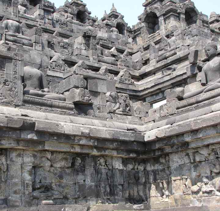 close up view of outside of Borobudur temple, Indonesia