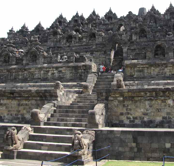 photo of the exterior of Borobudur temple in Java, Indonesia