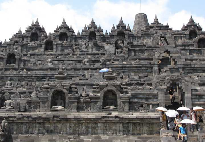 photo of outside of Borobudur temple in Java, Indonesia